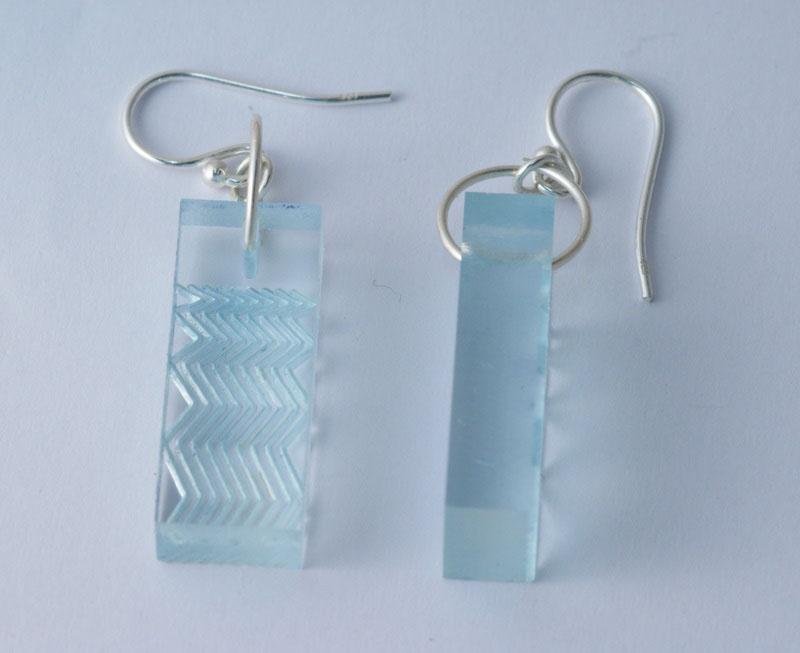 Aqua Acrylic Earrings
